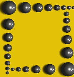 Abstract black spheres on the yellow background vector image vector image