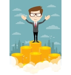 Businessman proudly standing on the huge money vector