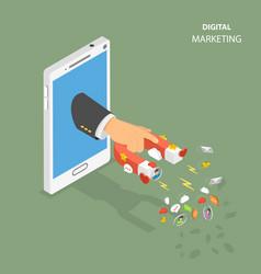 digital marketing flat isometric concept vector image vector image