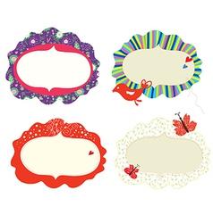 Frames floral designs set vector image