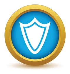 Gold shield icon vector image