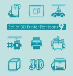 set of three d printer icons vector image vector image