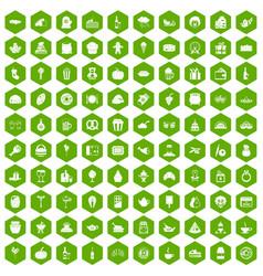 100 bounty icons hexagon green vector