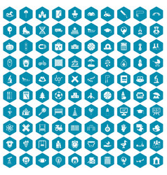 100 kids icons sapphirine violet vector image
