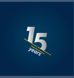 15 years anniversary celebration blue and white vector