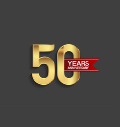 50 years anniversary simple design with golden vector