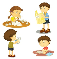 a four kids vector image