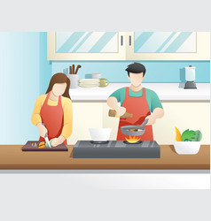 A married couple cooks together vector