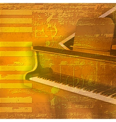 Abstract yellow grunge background with grand piano vector