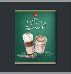 American cappuccino espresso coffee poster vector