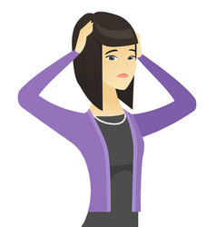 Asian worried business woman with hands on head vector