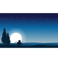 At night snowman scenery silhouettes vector image