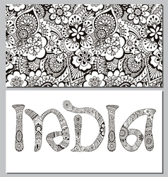 background and the inscription in the Indian style vector image