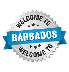 Barbados 3d silver badge with blue ribbon vector image