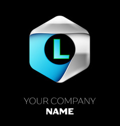 blue letter l logo in the silver-blue hexagonal vector image
