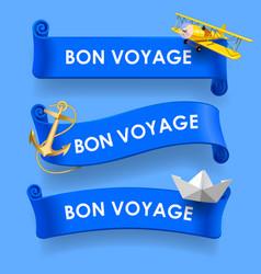 bon voyage blue ribbons vector image