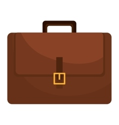 Brown leather briefcase isolated flat icon vector image