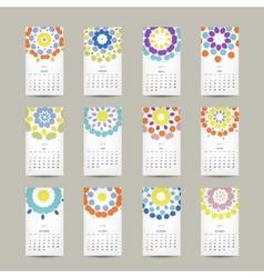 Calendar grid 2015 for your design floral ornament vector image