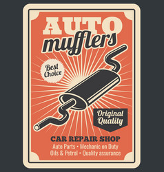 Car auto muffler parts store retro poster vector
