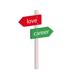 cartoon arrow to choose between love and career vector image