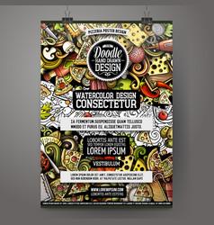 cartoon hand drawn doodles pizza poster design vector image