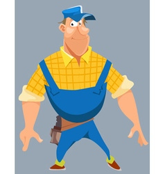 cartoon of a smiling husky male worker in uniform vector image