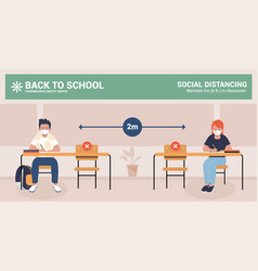 children with mask back to school safety advice vector image
