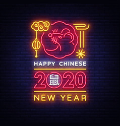 chinese new year 2020 neon sign year of vector image