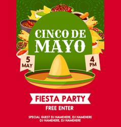 cinco de mayo mexican party banner invitation vector image