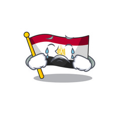 Crying flag egypt folded in mascot cupboard vector