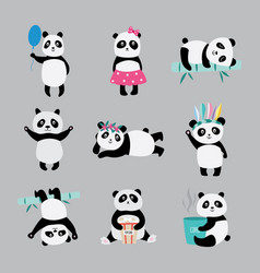 Cute panda bears in costumes playing eating and vector