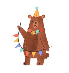 cute teddy bear wearing party cap and holding vector image