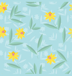 Daffodils flower pattern narcissuses seamless vector