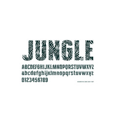 decorative sans serif font with palm leaf pattern vector image