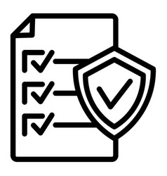 Document approve line icon checklist with shield vector