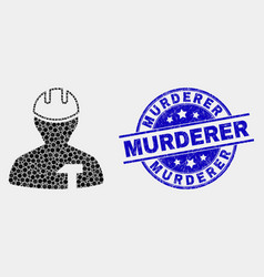 Dotted repairman icon and grunge murderer vector