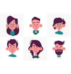 face people cartoon collection vector image