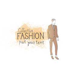 Fashion collection of clothes male model wearing vector