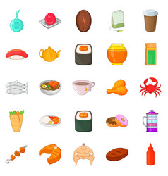 Fish delicacy icons set cartoon style vector