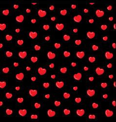 flat hearts seamless pattern red and black vector image