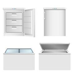 Freezer icon set realistic style vector