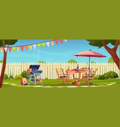 Garden party bbq picnic served table food drinks vector