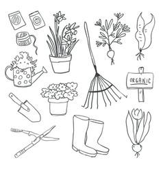 Gardening elements outline vector