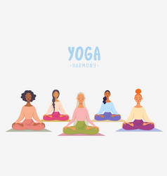 girls yoga class vector image
