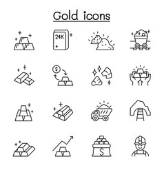 gold icon set in thin line style vector image