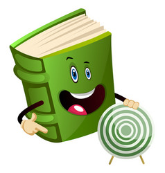 Green book holding a target on white background vector