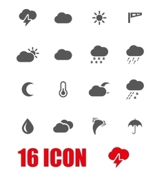 Grey weather icon set vector