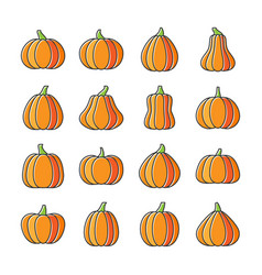 halloween pumpkin line icon set displaced fill vector image