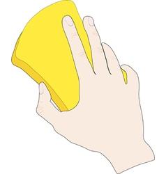Hand with sponge vector