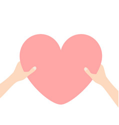hands arms holding pink heart icon shape sign vector image